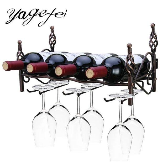 Creative Wine Rack with Glass Holders