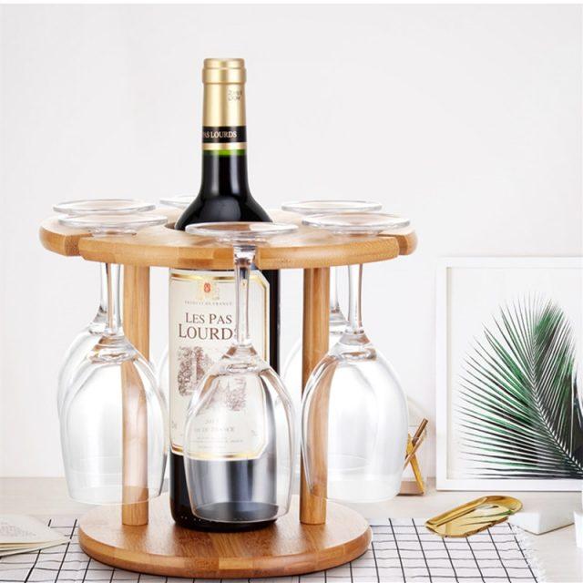 Solid Wood Wine Bottle/Glass Holder