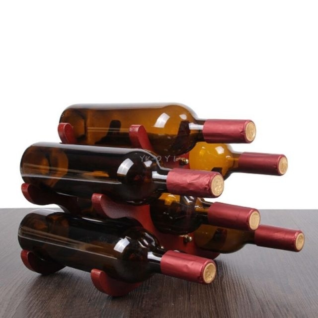 Red Wooden Wine Rack 6 Bottles