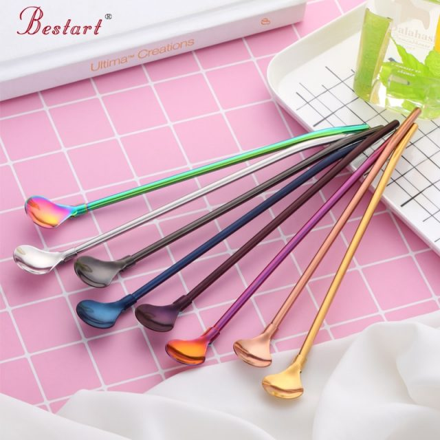 Long Metal Straw with Spoon 4Pcs/Set 21.5cm (8 Colors Available)
