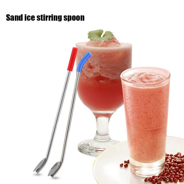 Reusable Drinking Straw/Spoon with Brush 21.5cm 10Pcs/Set