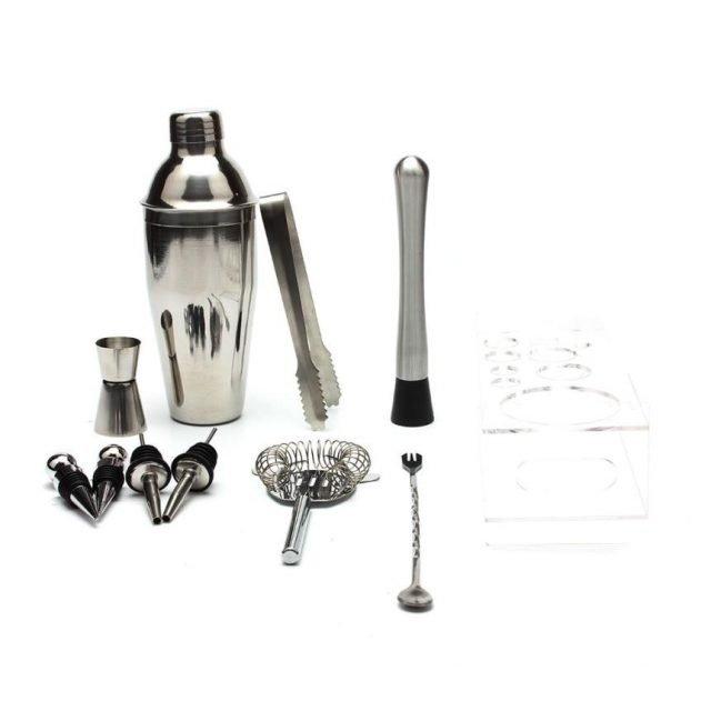 Cocktail Shaker Set With Acrylic Base 10Pcs, 550ML