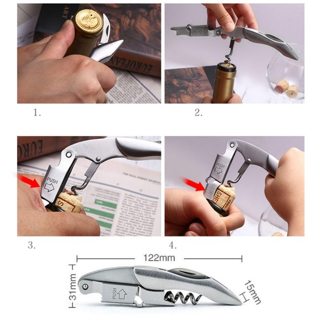 Stainless Steel Doubled Hinged Corkscrew