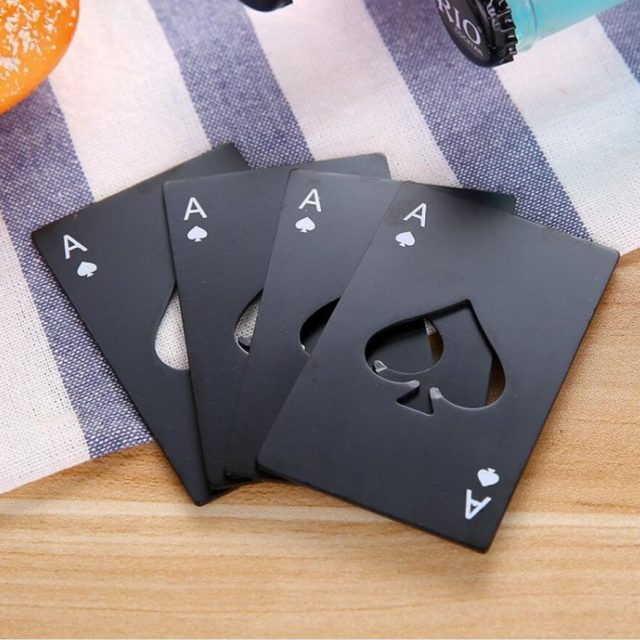 Ace Of Spades Bottle Opener 10Pcs/Lot Black/Silver/Mixed