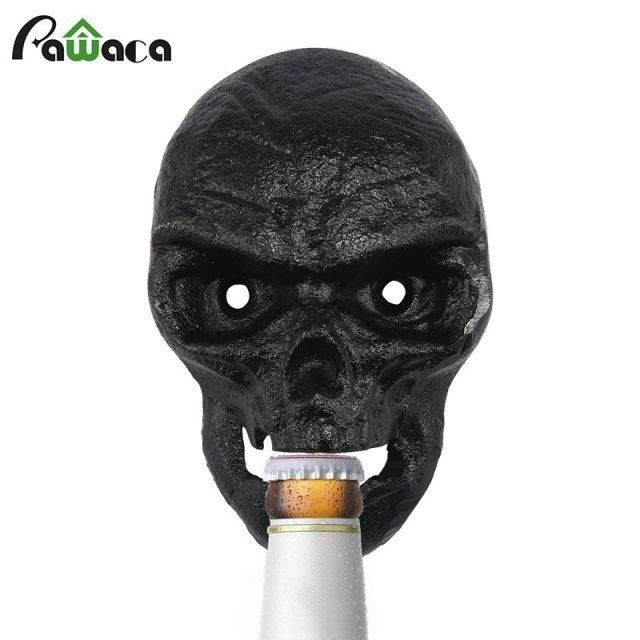 Skull Shaped Wall Bottle Opener Black/Silver/Blue