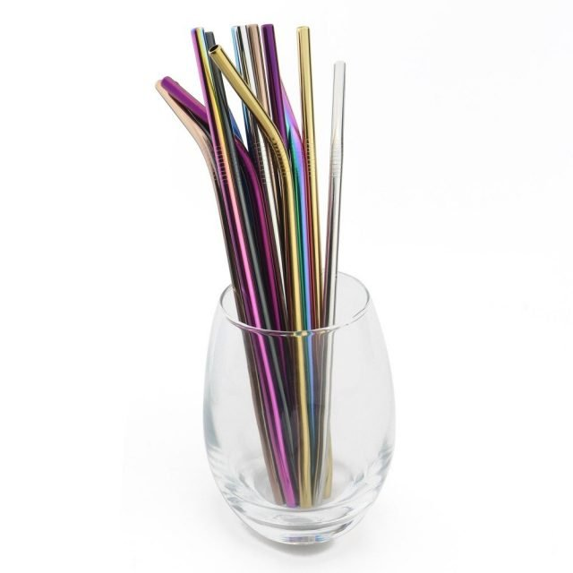 5pcs Rainbow Reusable Straw 304 Stainless Steel Straw Metal Smoothies Glass Box Drinking Straws Set with Brush Bag Wholesale