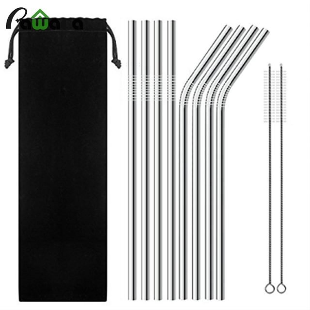 Stainless Steel Reusable Drinking Straws with Brush