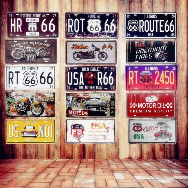 USA Vintage Metal Tin Signs Route 66 Car License Plate