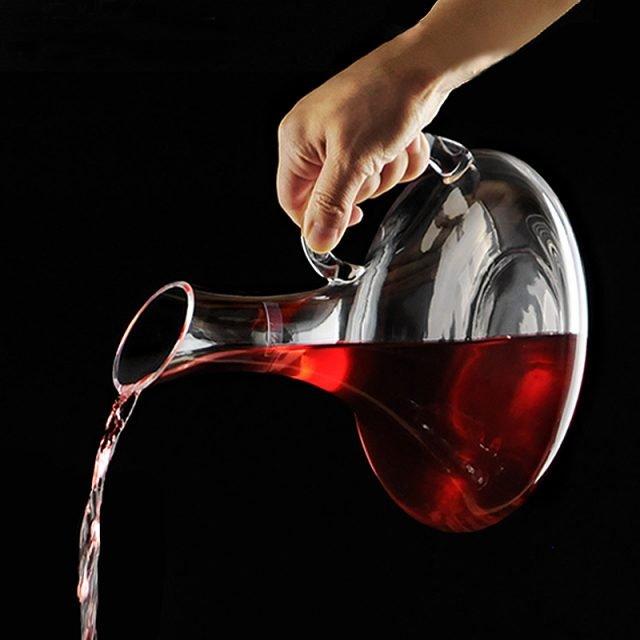 Handmade Crystal Flat Base Red Wine Decanter 1900ML