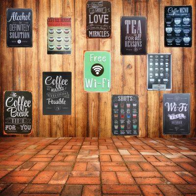 Free WIFI Chic Bar Vintage Wall Decor