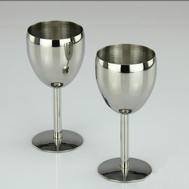 2Pcs Classical Wine Glasses Stainless Steel