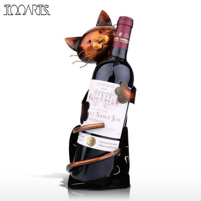Cat Shaped Metal Wine Bottle Holder