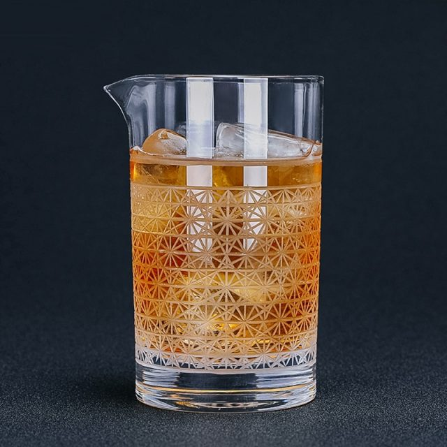 Hand Blown Engraved Cocktail Mixing Glass 600ml
