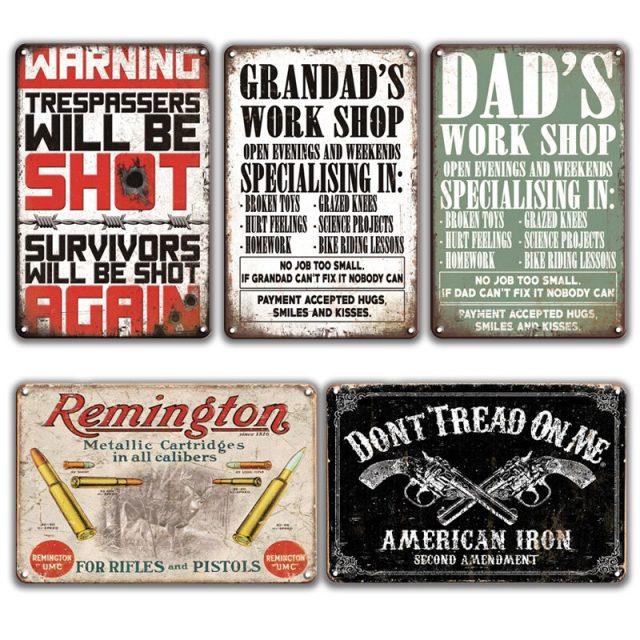 Garage Retro Warning Signs