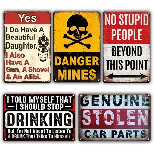 Danger Metal Tin Signs