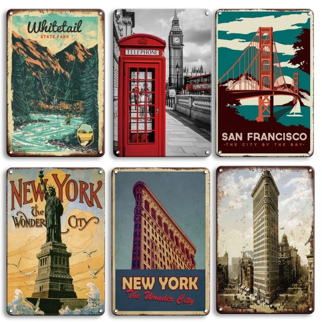 World Cities Vintage Metal Plaques