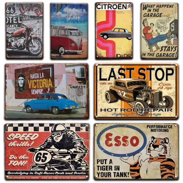 Historic Route 66 and Garage Plaques