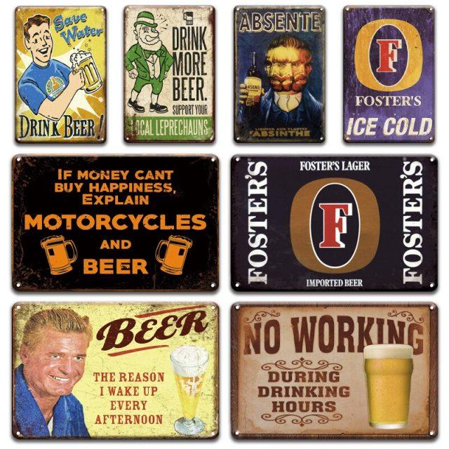 Vintage Beer Metal Tin Signs