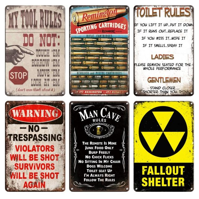 Fallout Shelter and Biohazard Metal Signs