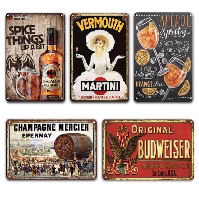 Martini and Champagne Vintage Tin Signs