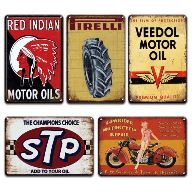 Motor Oils Retro Metal Plaques