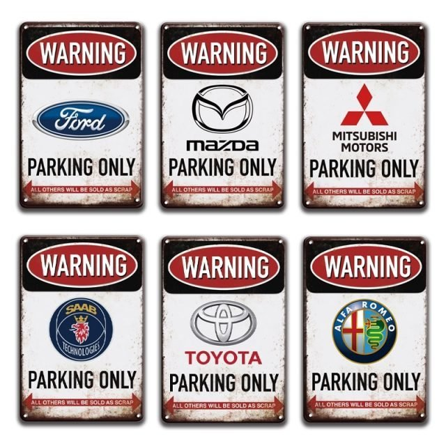 Warning Parking Only Metal Plaque